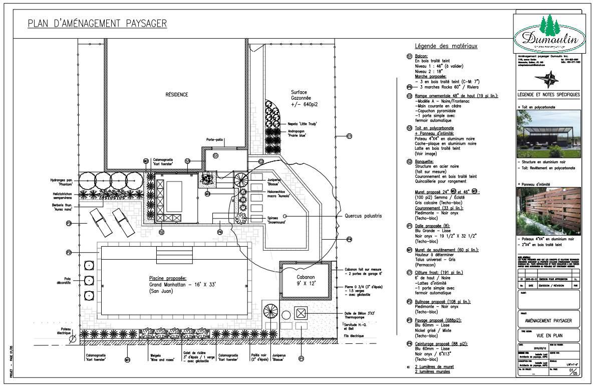 Plan 2 am nagement paysager dumoulin for Plan amenagement paysager