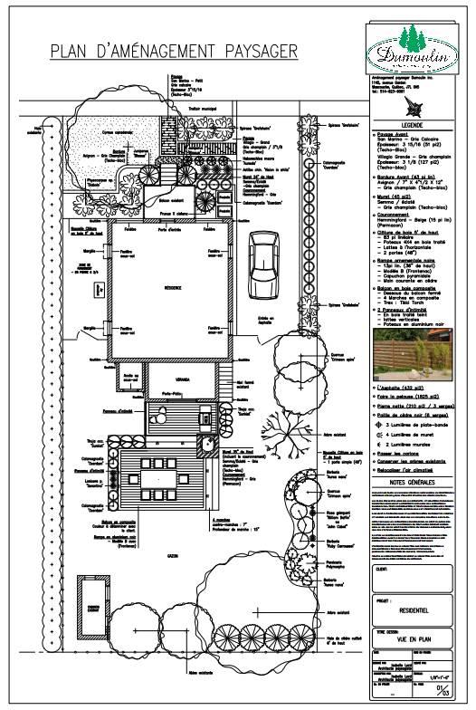 Plan 4 am nagement paysager dumoulin for Plan amenagement paysager
